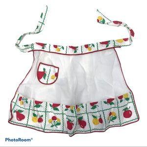 Vintage fruit pattern half apron mesh w/ pocket